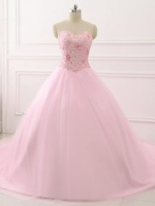 Attractive Brush Train Ball Gowns Ball Gown Prom Dress Baby Pink Sweetheart Tulle Sleeveless Lace Up