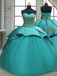 Turquoise Satin Lace Up Quinceanera Gowns Sleeveless Sweep Train Beading and Appliques