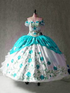 Multi-color Off The Shoulder Lace Up Embroidery and Ruffles Quinceanera Gowns Cap Sleeves
