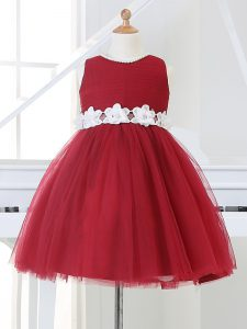 Scoop Sleeveless Little Girl Pageant Gowns Knee Length Appliques Wine Red Tulle