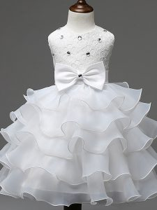 White Sleeveless Knee Length Lace and Ruffled Layers and Bowknot Zipper Little Girls Pageant Dress