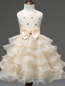 Cheap Scoop Sleeveless Zipper Little Girl Pageant Dress Champagne Organza