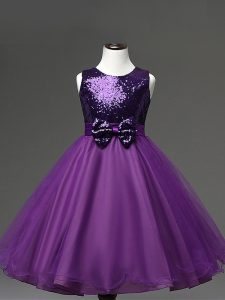 Pretty Purple Scoop Zipper Sequins and Bowknot Girls Pageant Dresses Sleeveless