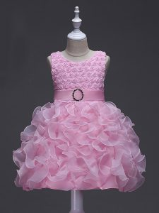 Rose Pink Sleeveless Organza Lace Up Girls Pageant Dresses for Wedding Party