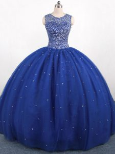 Royal Blue Ball Gowns Beading Ball Gown Prom Dress Zipper Tulle Sleeveless Floor Length