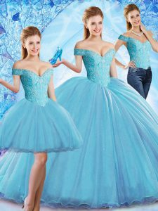 Sleeveless Sweep Train Lace Up Beading Vestidos de Quinceanera