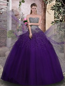 Graceful Sleeveless Tulle Floor Length Lace Up Vestidos de Quinceanera in Purple with Beading