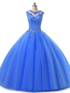 Blue Tulle Lace Up Scoop Sleeveless Floor Length Ball Gown Prom Dress Beading and Lace