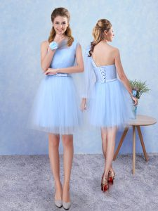 Aqua Blue A-line Tulle Asymmetric Sleeveless Belt Mini Length Lace Up Dama Dress for Quinceanera
