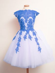 Cheap Blue And White Tulle Lace Up Scalloped Sleeveless Knee Length Court Dresses for Sweet 16 Appliques