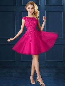 Fuchsia A-line Bateau Cap Sleeves Tulle Knee Length Lace Up Lace and Belt Quinceanera Court Dresses