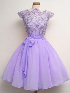 Knee Length Lavender Dama Dress for Quinceanera Scalloped Cap Sleeves Lace Up