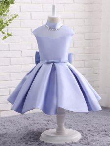 Knee Length Ball Gowns Cap Sleeves Lavender Girls Pageant Dresses Zipper