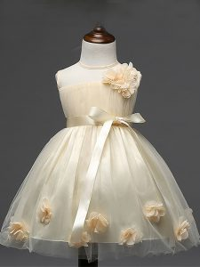 Knee Length Champagne Little Girl Pageant Gowns Tulle Sleeveless Hand Made Flower