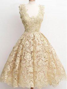 Lovely Sleeveless Zipper Knee Length Lace Quinceanera Dama Dress