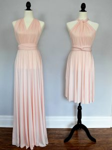 Cute Floor Length Baby Pink and Peach Dama Dress for Quinceanera Chiffon Sleeveless Ruching