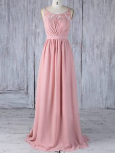 Scoop Sleeveless Chiffon Quinceanera Court Dresses Appliques Criss Cross