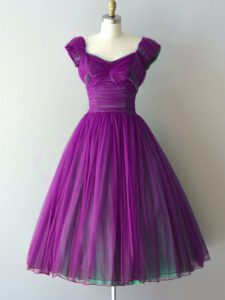 Purple V-neck Lace Up Ruching Quinceanera Court Dresses Cap Sleeves