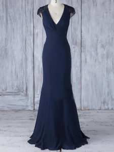 Noble V-neck Cap Sleeves Quinceanera Court Dresses Floor Length Lace Navy Blue Chiffon
