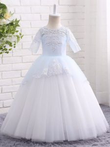 Floor Length Clasp Handle Girls Pageant Dresses Blue And White for Wedding Party with Appliques
