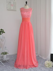 Latest Floor Length Empire Sleeveless Watermelon Red Dama Dress for Quinceanera Zipper