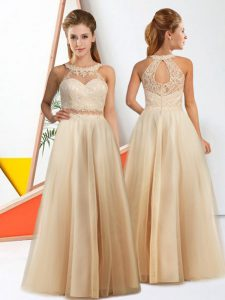 Wonderful Lace Dama Dress Champagne Zipper Sleeveless Floor Length