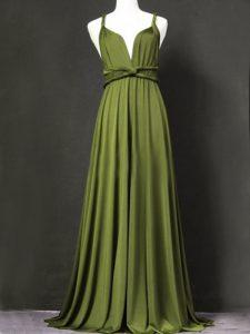 Ruching Damas Dress Olive Green Criss Cross Sleeveless Floor Length