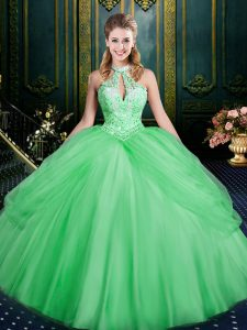 Superior Green Lace Up Halter Top Beading and Pick Ups 15th Birthday Dress Tulle Sleeveless