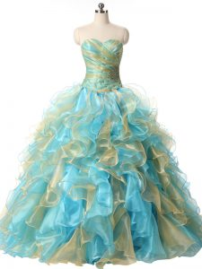 Spectacular Sweetheart Sleeveless Quinceanera Dress Floor Length Beading and Ruffles Multi-color Organza