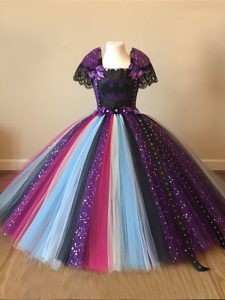 Multi-color Square Neckline Sequins and Pattern Little Girls Pageant Dress Wholesale Short Sleeves Zipper