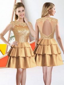 Gold Taffeta Backless Court Dresses for Sweet 16 Sleeveless Knee Length Beading and Lace