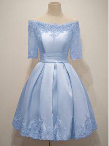 Light Blue Lace Up Off The Shoulder Lace Vestidos de Damas Taffeta Half Sleeves