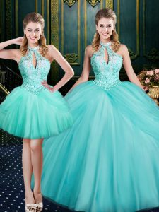 High End Aqua Blue Ball Gowns Halter Top Sleeveless Tulle Floor Length Lace Up Beading and Pick Ups Sweet 16 Quinceanera Dress