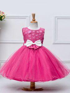 Scoop Sleeveless Zipper Little Girls Pageant Dress Wholesale Hot Pink Tulle