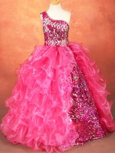 Hot Pink Organza Lace Up One Shoulder Sleeveless Floor Length Kids Formal Wear Beading and Ruffles and Sequins