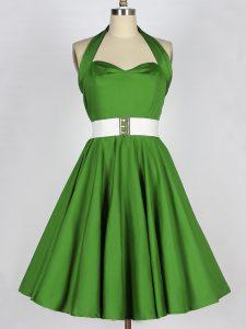 Romantic Green Sleeveless Knee Length Belt Lace Up Quinceanera Court Dresses