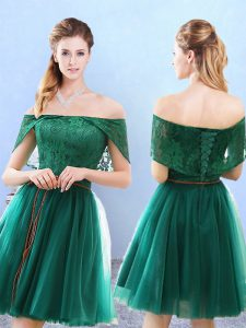 Cap Sleeves Lace Lace Up Dama Dress for Quinceanera