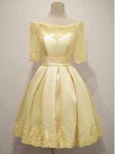 On Sale Half Sleeves Taffeta Knee Length Lace Up Quinceanera Court Dresses in Yellow with Lace