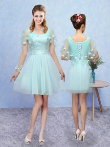Aqua Blue Lace Up Scoop Appliques Court Dresses for Sweet 16 Tulle Sleeveless