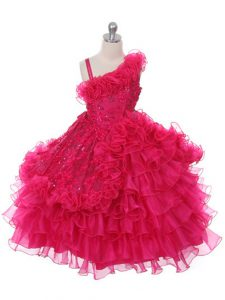 Asymmetric Sleeveless Organza Kids Formal Wear Lace and Ruffles and Ruffled Layers Lace Up