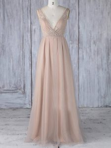 Comfortable V-neck Sleeveless Tulle Court Dresses for Sweet 16 Lace Zipper
