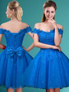 Sumptuous Blue Off The Shoulder Lace Up Lace and Belt Vestidos de Damas Sleeveless