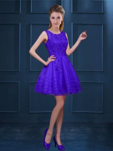 Superior Sleeveless Zipper Knee Length Lace and Ruffled Layers Dama Dress