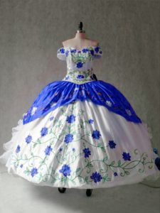 Cap Sleeves Floor Length Embroidery and Ruffles Lace Up Quinceanera Gown with Blue And White