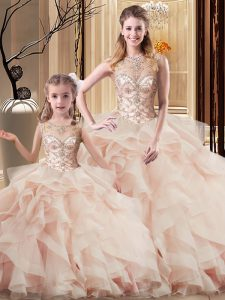 Peach Ball Gowns Beading and Ruffles Quinceanera Dresses Lace Up Tulle Sleeveless