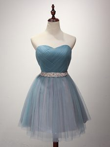 Fabulous Light Blue Sweetheart Lace Up Beading and Ruching Dama Dress for Quinceanera Sleeveless