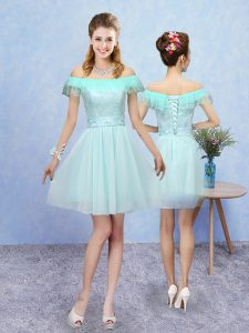 Aqua Blue Quinceanera Court Dresses Prom and Party with Lace Off The Shoulder Cap Sleeves Lace Up
