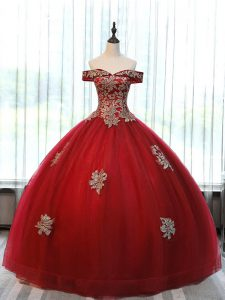 Wine Red Ball Gowns Off The Shoulder Sleeveless Tulle Floor Length Lace Up Beading and Appliques Quince Ball Gowns
