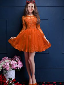 Glamorous Mini Length Orange Red Quinceanera Court of Honor Dress Scalloped 3 4 Length Sleeve Lace Up