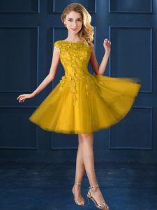 Best Knee Length Gold Vestidos de Damas Tulle Cap Sleeves Lace and Appliques